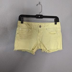 Yellow Distressed American Eagle Jean Shorts